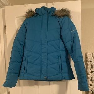 Blue hooded Columbia puffer jacket